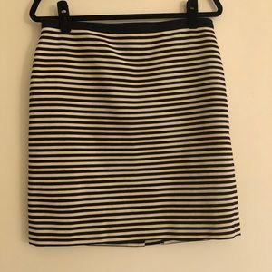 LOFT Navy and Cream Striped Pencil Skirt
